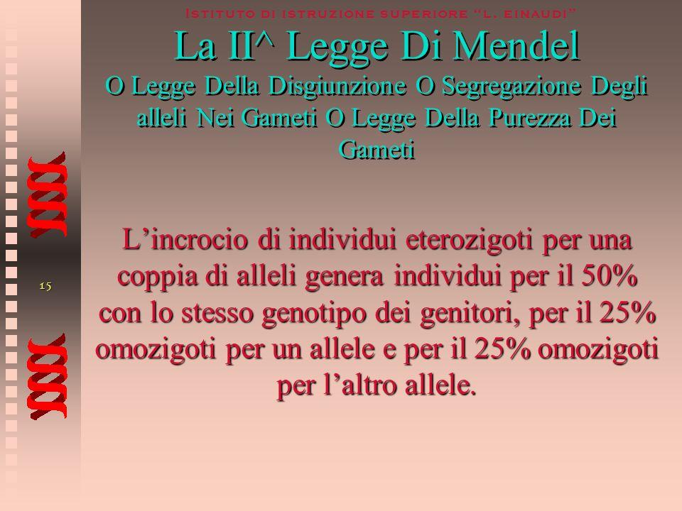 La II^ Legge Di Mendel O Legge Della Disgiunzione O Segregazione Degli alleli Nei Gameti O Legge Della Purezza Dei Gameti