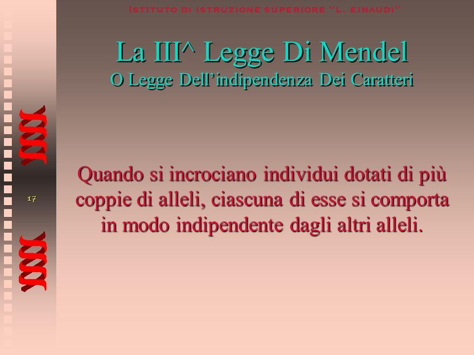 La III^ Legge Di Mendel O Legge Dell'indipendenza Dei Caratteri