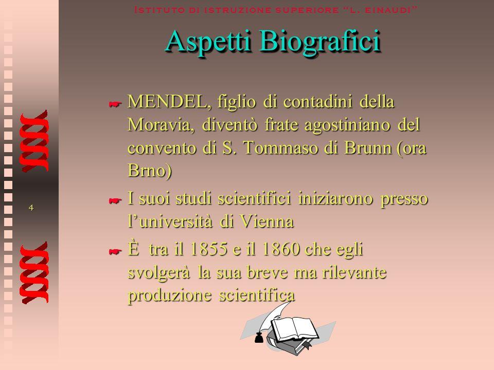 Aspetti BiograficiMENDEL, figlio di contadini della Moravia, diventò frate agostiniano del convento di S. Tommaso di Brunn (ora Brno)