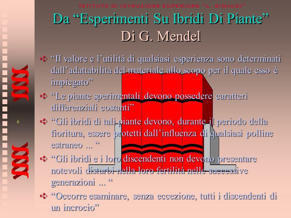 Da Esperimenti Su Ibridi Di Piante Di G. Mendel