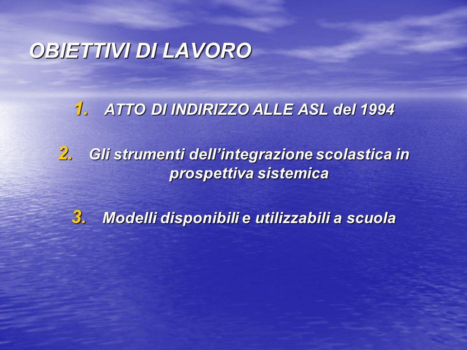 OBIETTIVI DI LAVORO ATTO DI INDIRIZZO ALLE ASL del 1994
