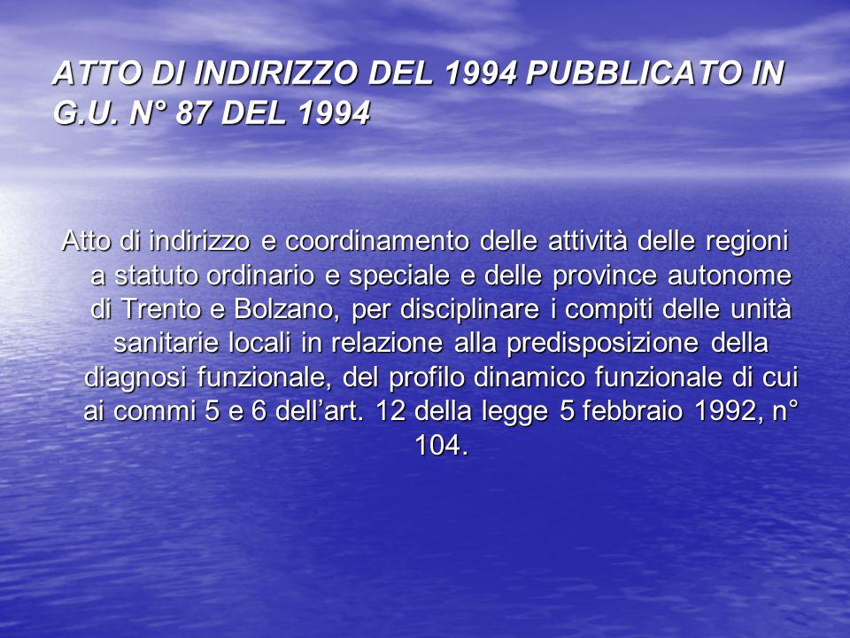 ATTO DI INDIRIZZO DEL 1994 PUBBLICATO IN G.U. N° 87 DEL 1994