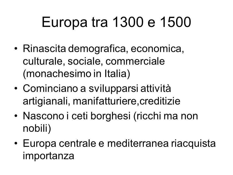 Europa tra 1300 e 1500Rinascita demografica, economica, culturale, sociale, commerciale (monachesimo in Italia)