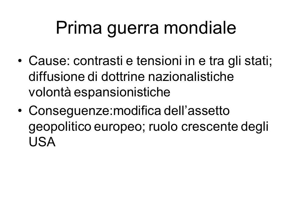 Prima guerra mondiale Cause: contrasti e tensioni in e tra gli stati; diffusione di dottrine nazionalistiche volontà espansionistiche.