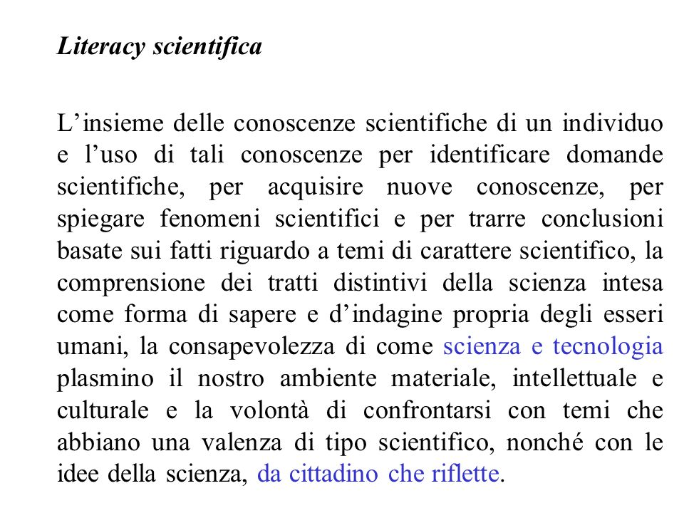 Literacy scientifica