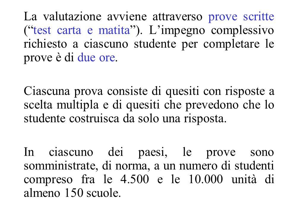 La valutazione avviene attraverso prove scritte ( test carta e matita ). L'impegno complessivo richiesto a ciascuno studente per completare le prove è di due ore.
