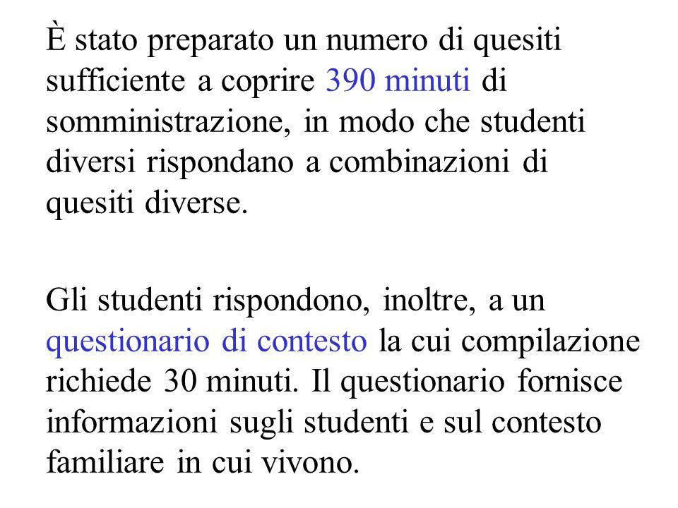 È stato preparato un numero di quesiti sufficiente a coprire 390 minuti di somministrazione, in modo che studenti diversi rispondano a combinazioni di quesiti diverse.