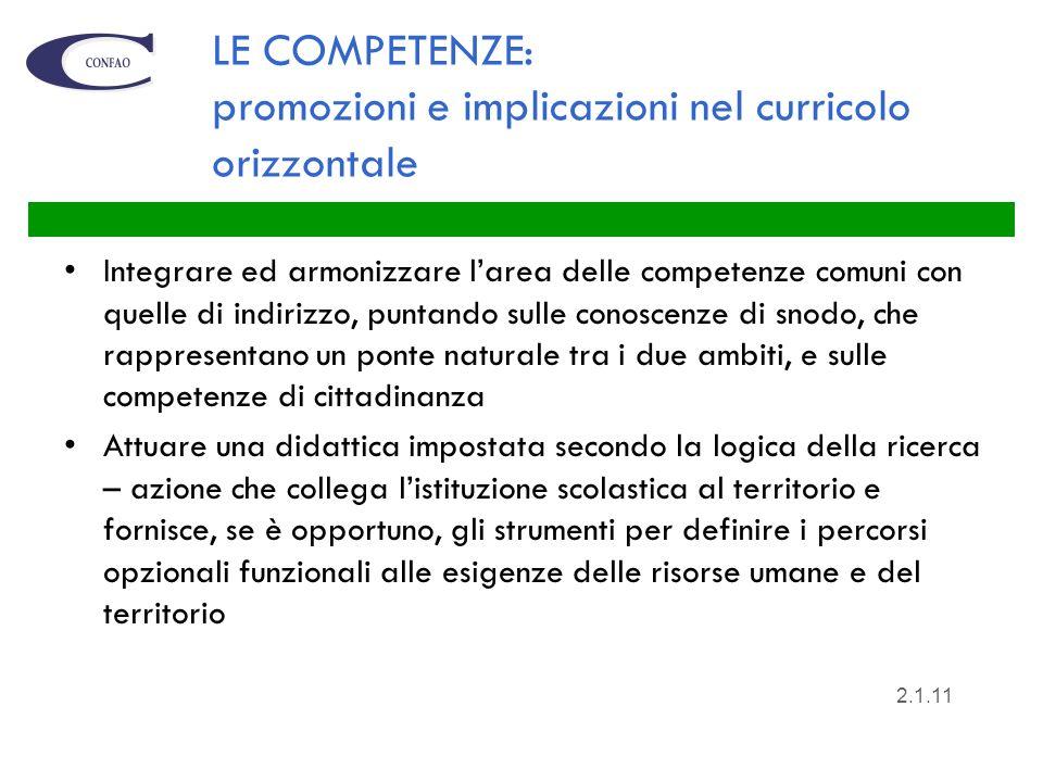 LE COMPETENZE: promozioni e implicazioni nel curricolo orizzontale