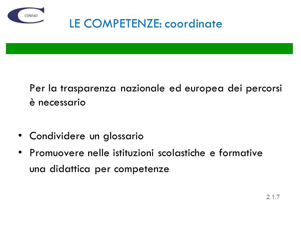 LE COMPETENZE: coordinate