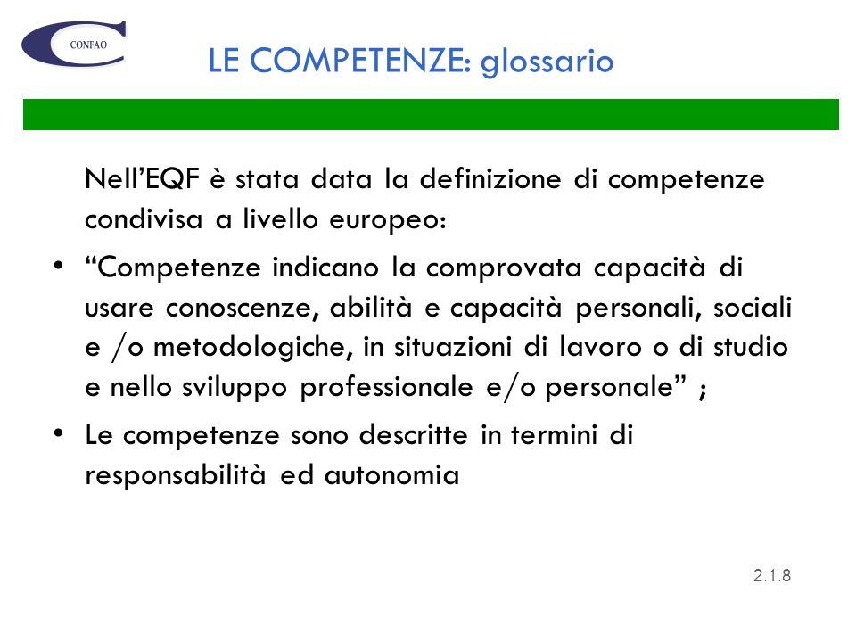 LE COMPETENZE: glossario