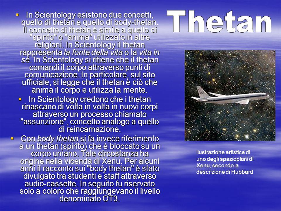 In Scientology esistono due concetti, quello di thetan e quello di body-thetan. Il concetto di thetan è simile a quello di spirito o anima utilizzato in altre religioni. In Scientology il thetan rappresenta la fonte della vita o la vita in sé. In Scientology si ritiene che il thetan comandi il corpo attraverso punti di comunicazione. In particolare, sul sito ufficiale, si legge che il thetan è ciò che anima il corpo e utilizza la mente.