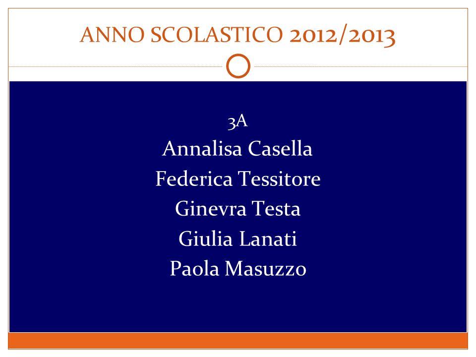 ANNO SCOLASTICO 2012/2013 Annalisa Casella Federica Tessitore