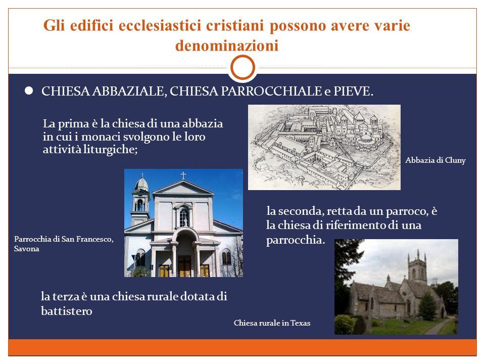 Gli edifici ecclesiastici cristiani possono avere varie denominazioni