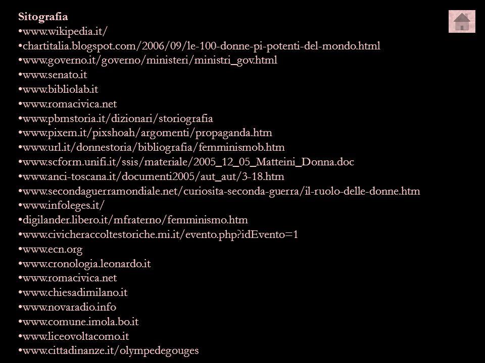 Sitografia www.wikipedia.it/ chartitalia.blogspot.com/2006/09/le-100-donne-pi-potenti-del-mondo.html.