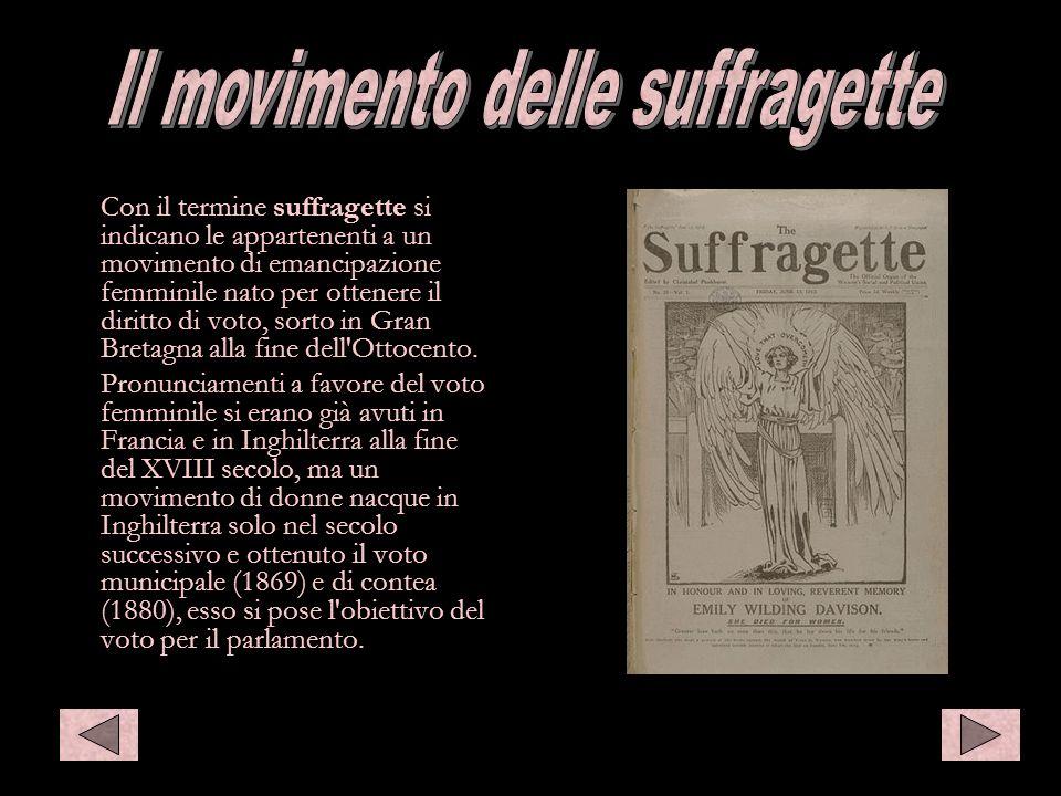 Il movimento delle suffragette