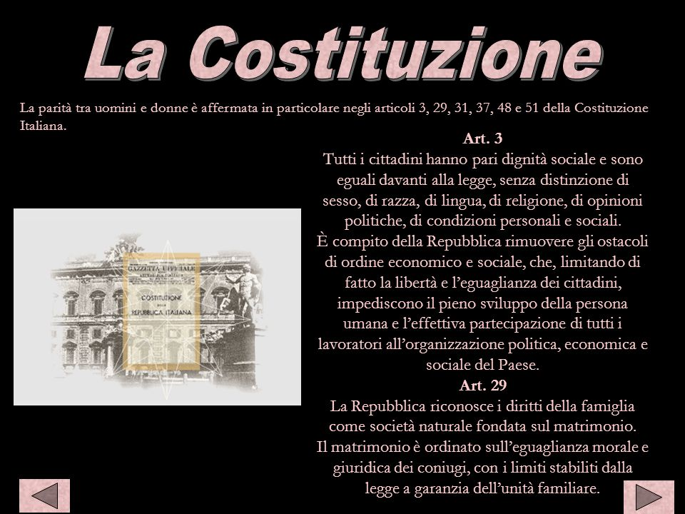 Costiuzione La Costituzione Art. 3
