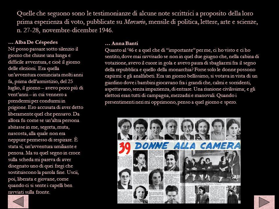 Quelle che seguono sono le testimonianze di alcune note scrittrici a proposito della loro prima esperienza di voto, pubblicate su Mercurio, mensile di politica, lettere, arte e scienze, n. 27-28, novembre-dicembre 1946.