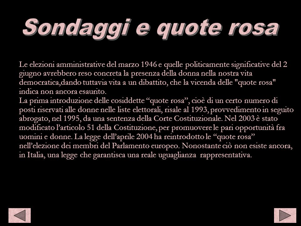 Sondaggi e quote rosa Sondaggi e quote rosa