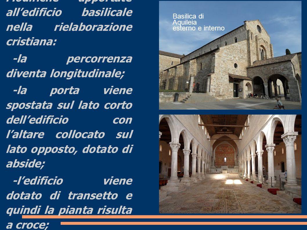 Innovazioni Modifiche apportate all'edificio basilicale nella rielaborazione cristiana: -la percorrenza diventa longitudinale;
