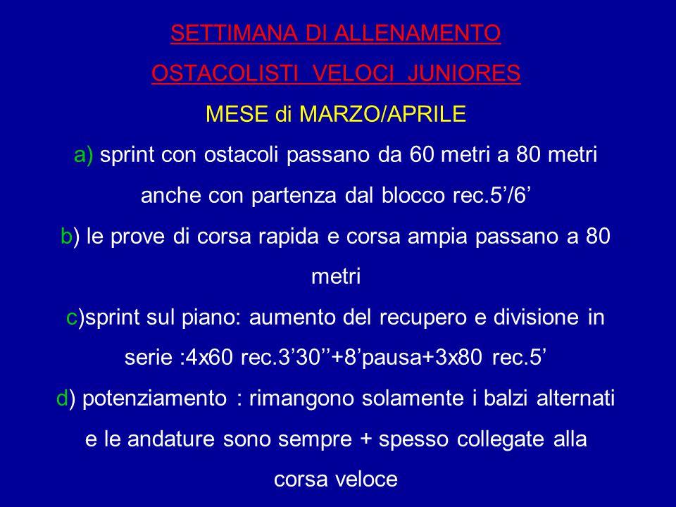 SETTIMANA DI ALLENAMENTO OSTACOLISTI VELOCI JUNIORES MESE di MARZO/APRILE a) sprint con ostacoli passano da 60 metri a 80 metri anche con partenza dal blocco rec.5'/6' b) le prove di corsa rapida e corsa ampia passano a 80 metri c)sprint sul piano: aumento del recupero e divisione in serie :4x60 rec.3'30''+8'pausa+3x80 rec.5' d) potenziamento : rimangono solamente i balzi alternati e le andature sono sempre + spesso collegate alla corsa veloce