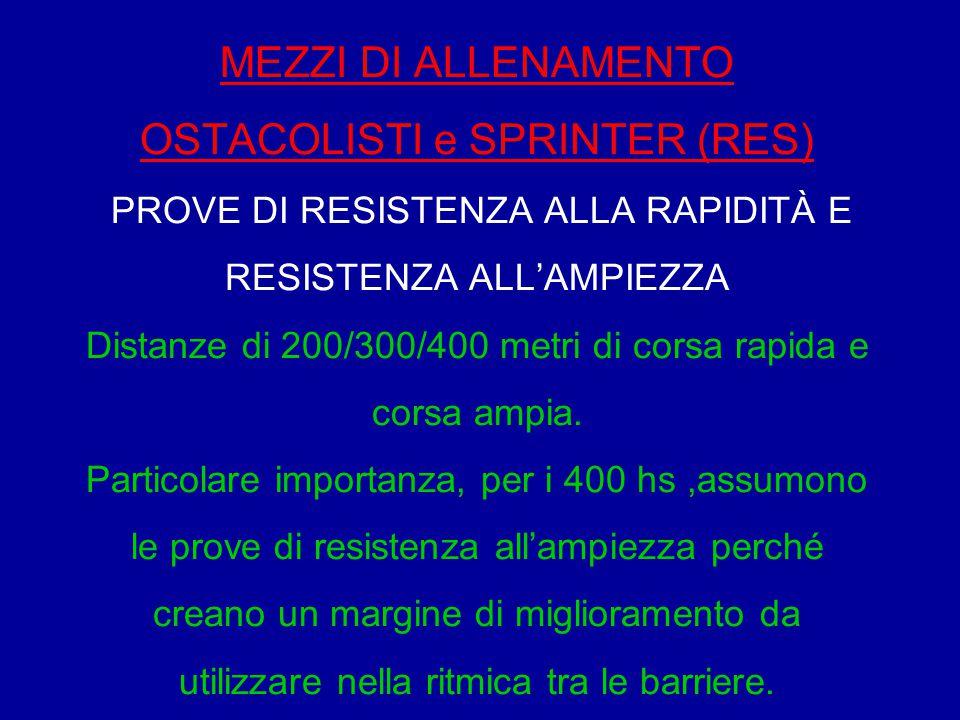 MEZZI DI ALLENAMENTO OSTACOLISTI e SPRINTER (RES) PROVE DI RESISTENZA ALLA RAPIDITÀ E RESISTENZA ALL'AMPIEZZA Distanze di 200/300/400 metri di corsa rapida e corsa ampia.