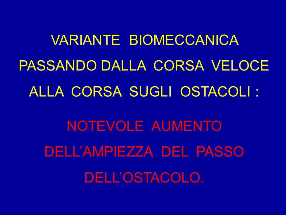 NOTEVOLE AUMENTO DELL'AMPIEZZA DEL PASSO DELL'OSTACOLO.