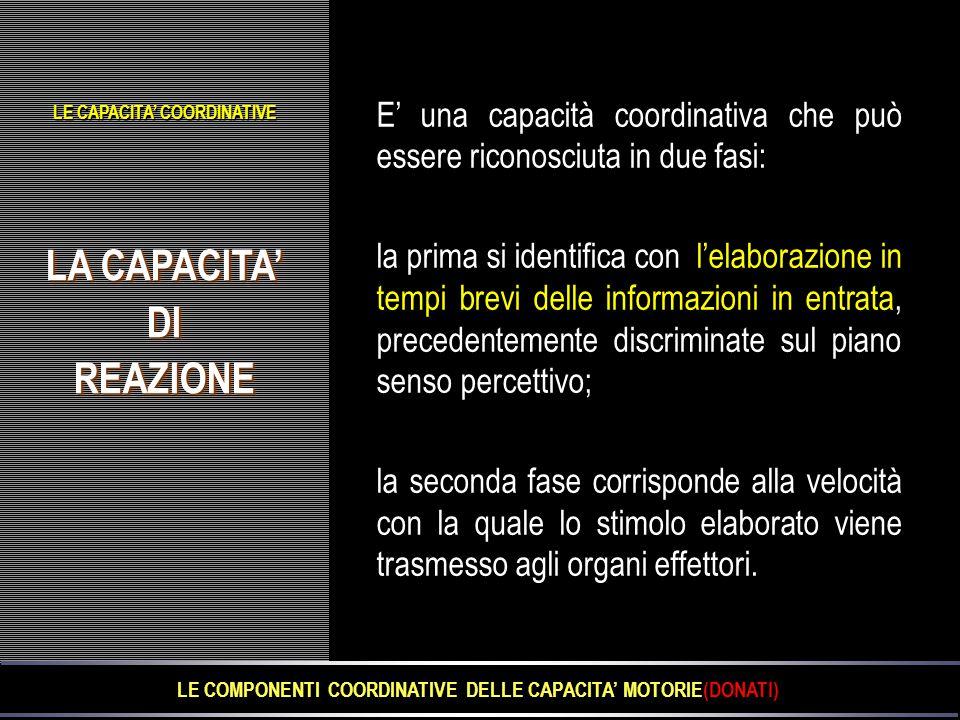 LE COMPONENTI COORDINATIVE DELLE CAPACITA' MOTORIE(DONATI)