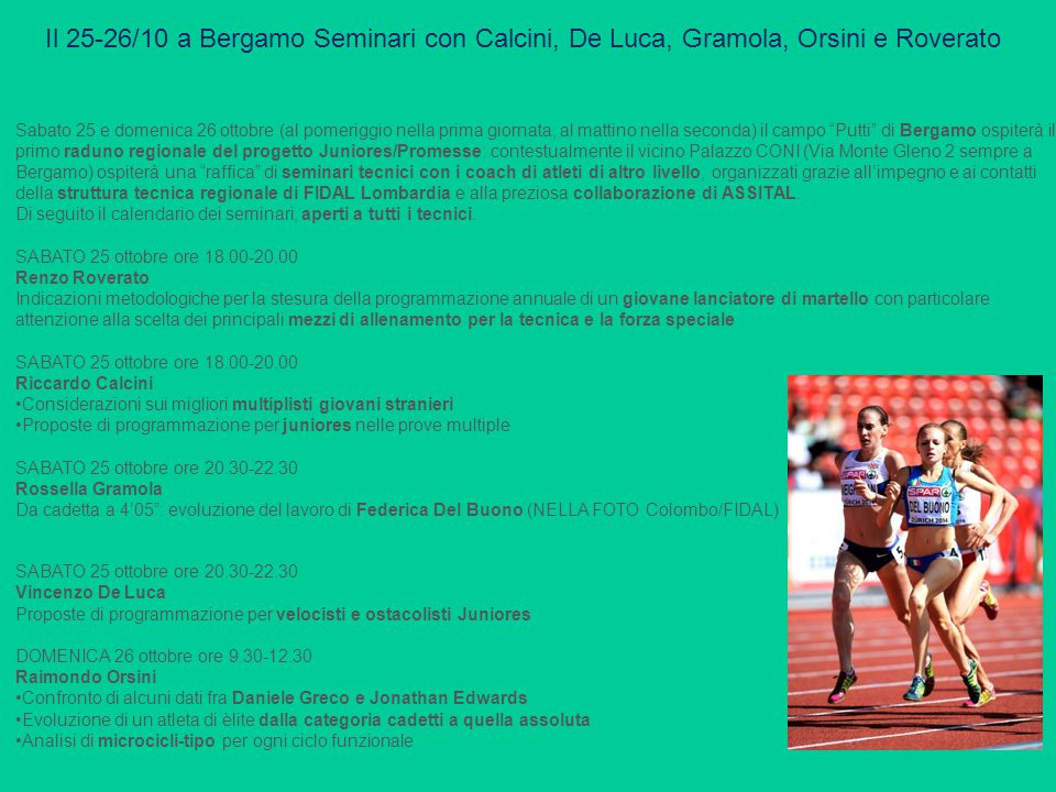 Il 25-26/10 a Bergamo Seminari con Calcini, De Luca, Gramola, Orsini e Roverato