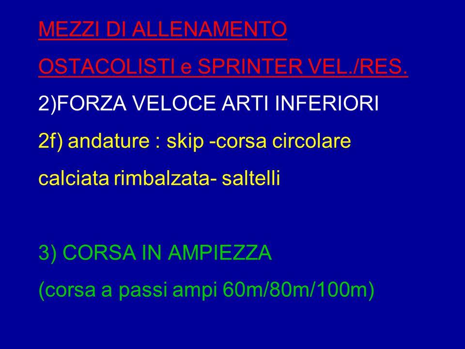 MEZZI DI ALLENAMENTO OSTACOLISTI e SPRINTER VEL. /RES