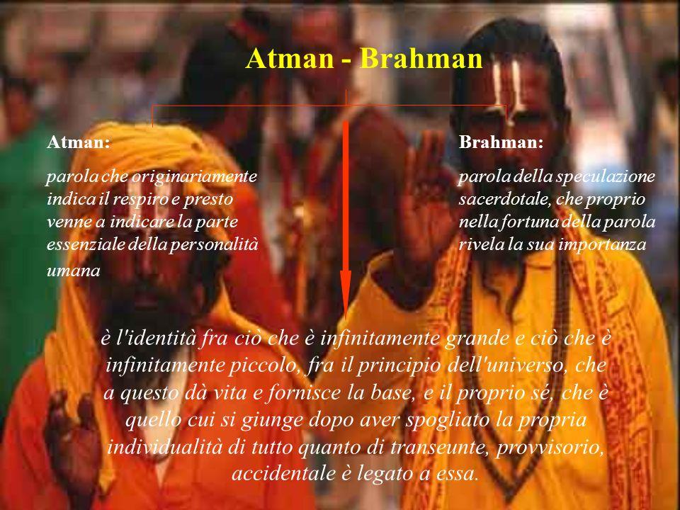 Atman - Brahman Atman: parola che originariamente indica il respiro e presto venne a indicare la parte essenziale della personalità umana.