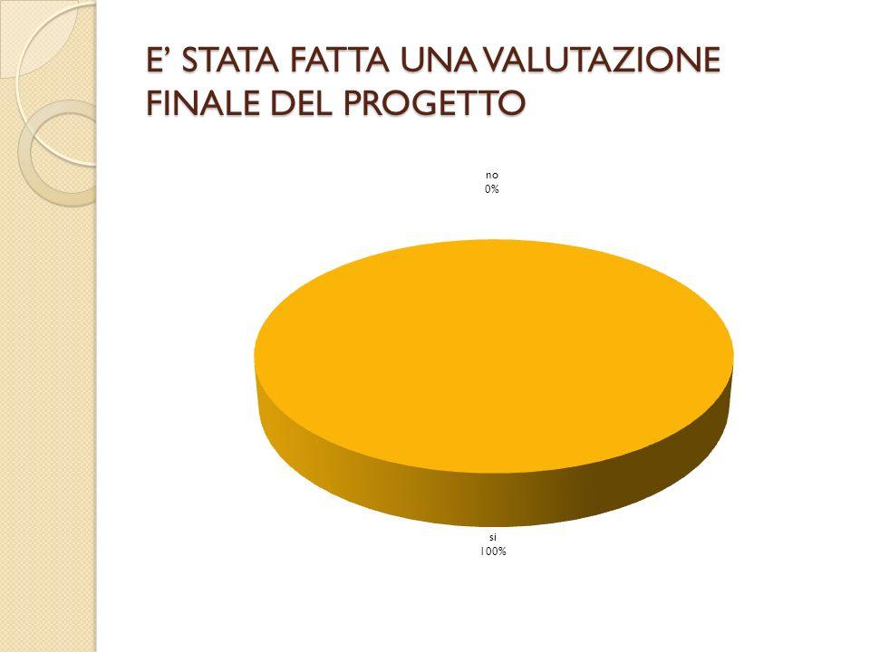 E' STATA FATTA UNA VALUTAZIONE FINALE DEL PROGETTO