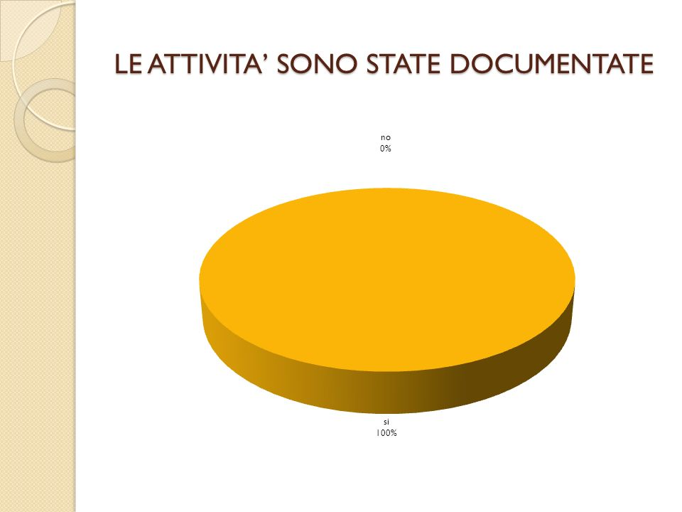 LE ATTIVITA' SONO STATE DOCUMENTATE