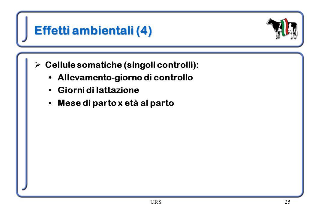Effetti ambientali (4) Cellule somatiche (singoli controlli):