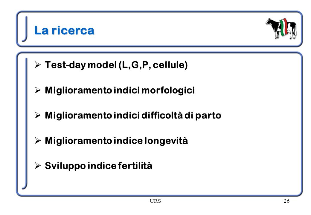 La ricerca Test-day model (L,G,P, cellule)