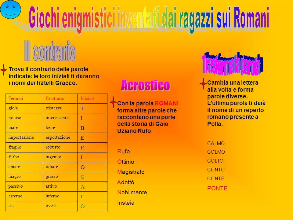 Giochi enigmistici inventati dai ragazzi sui Romani