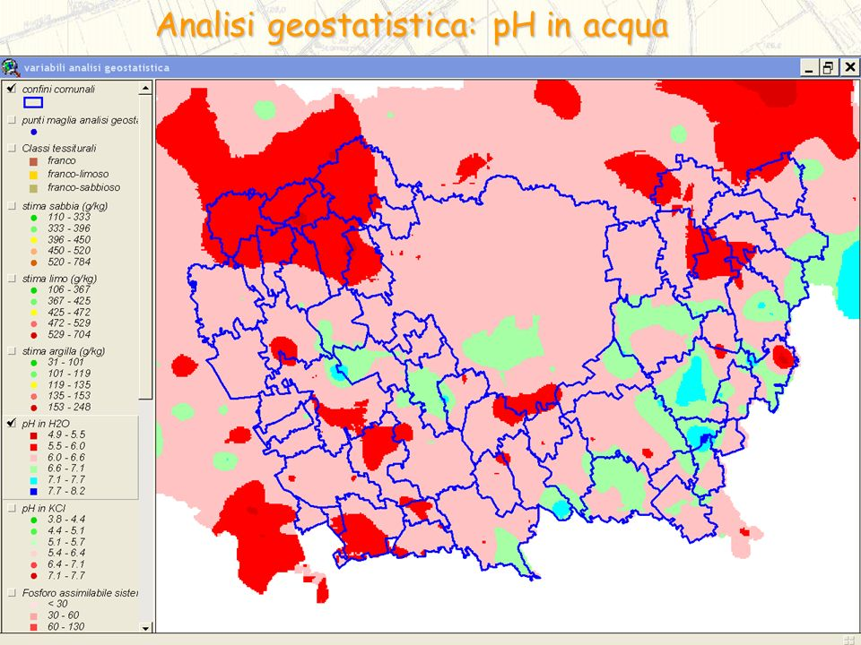 Analisi geostatistica: pH in acqua