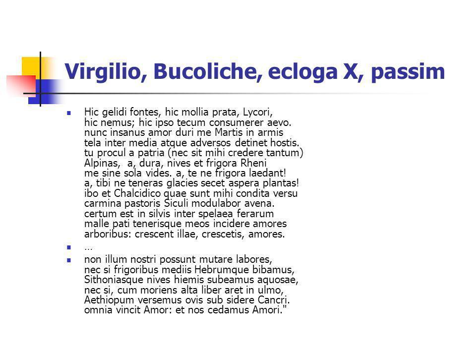 Virgilio, Bucoliche, ecloga X, passim