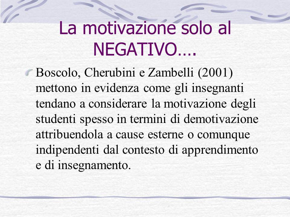 La motivazione solo al NEGATIVO….