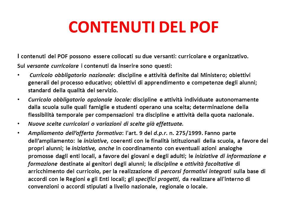 CONTENUTI DEL POF I contenuti del POF possono essere collocati su due versanti: curricolare e organizzativo.