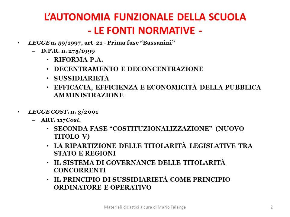 L'AUTONOMIA FUNZIONALE DELLA SCUOLA - LE FONTI NORMATIVE -