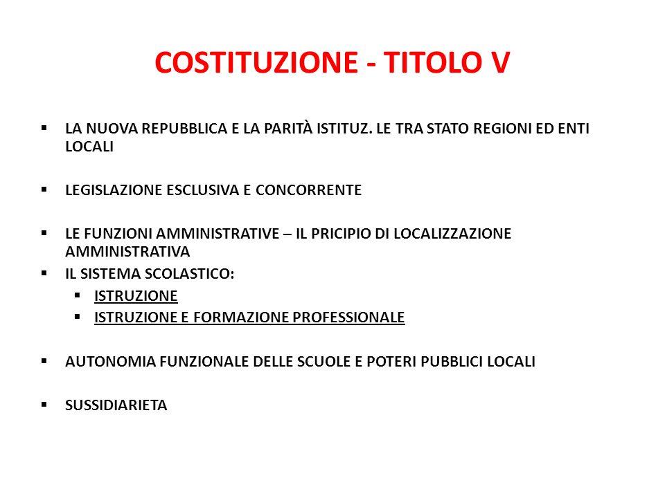 COSTITUZIONE - TITOLO V