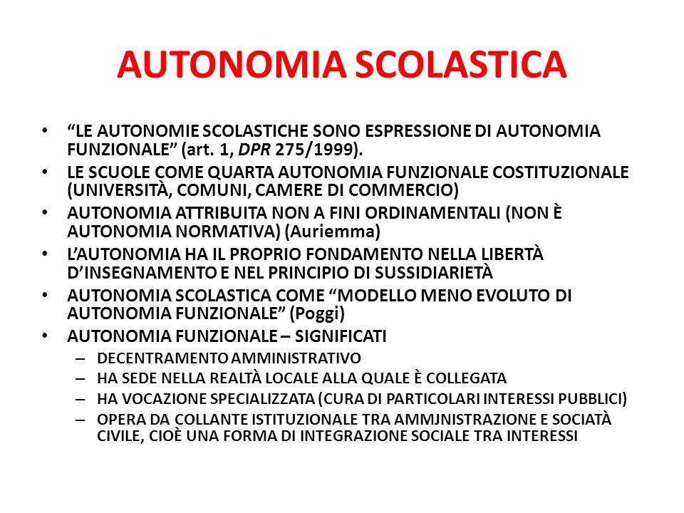 AUTONOMIA SCOLASTICA LE AUTONOMIE SCOLASTICHE SONO ESPRESSIONE DI AUTONOMIA FUNZIONALE (art. 1, DPR 275/1999).