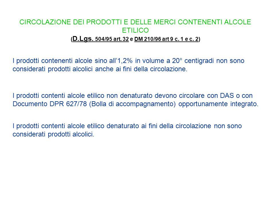 (D.Lgs. 504/95 art. 32 e DM 210/96 art 9 c. 1 e c. 2)