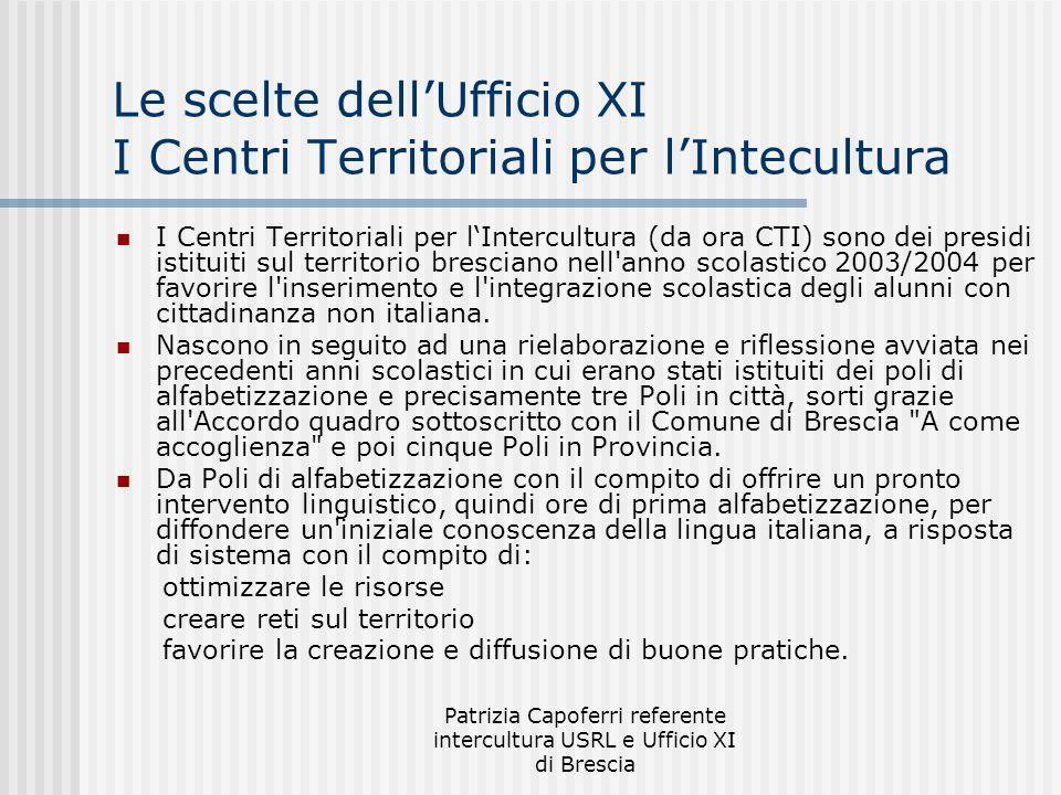 Le scelte dell'Ufficio XI I Centri Territoriali per l'Intecultura