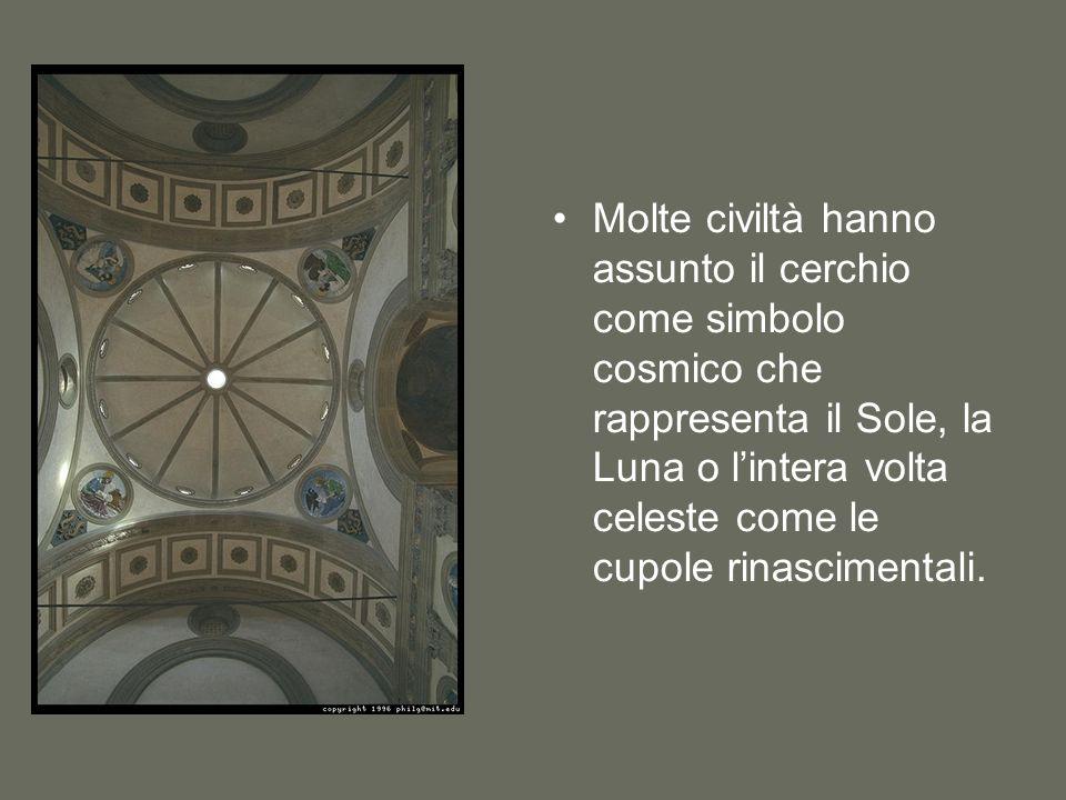 Molte civiltà hanno assunto il cerchio come simbolo cosmico che rappresenta il Sole, la Luna o l'intera volta celeste come le cupole rinascimentali.