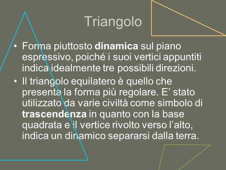 TriangoloForma piuttosto dinamica sul piano espressivo, poiché i suoi vertici appuntiti indica idealmente tre possibili direzioni.