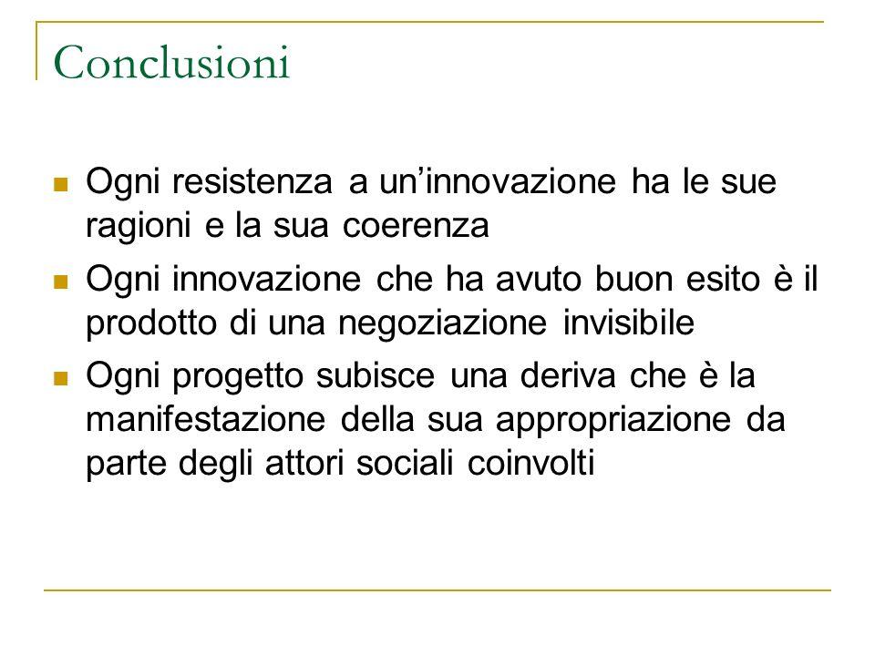 Conclusioni Ogni resistenza a un'innovazione ha le sue ragioni e la sua coerenza.