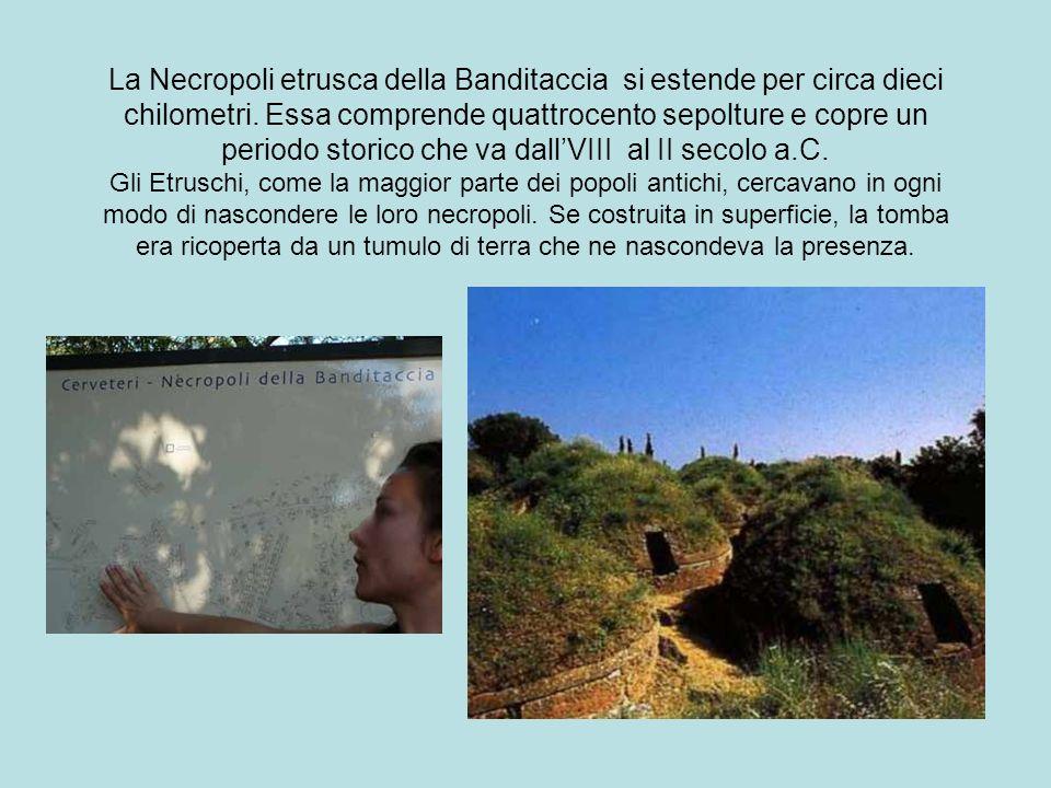 La Necropoli etrusca della Banditaccia si estende per circa dieci chilometri.