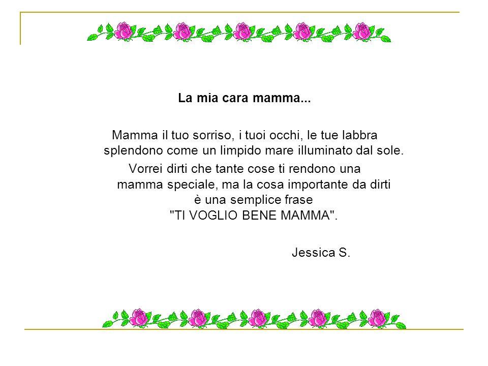 La mia cara mamma... Mamma il tuo sorriso, i tuoi occhi, le tue labbra splendono come un limpido mare illuminato dal sole.
