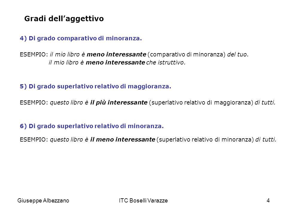 Gradi dell'aggettivo 4) Di grado comparativo di minoranza.